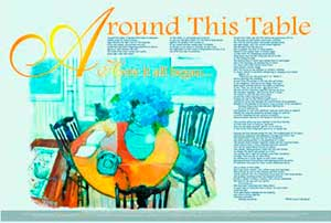 Poster for Around This Table poem by Dora McQuaid